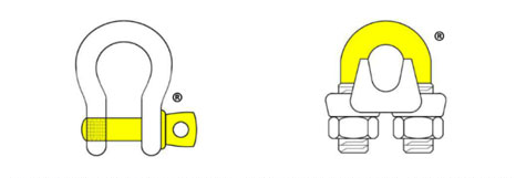 Yellow Pin Shackle™ and Yellow U-Bolt Wire Rope Clip™